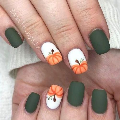60 Must Try Nail Designs This Autumn Fall Flowers Nail Design Fall Nails Fall Nail Art Pumpkin Nails Simple Fall Nails Pumpkin Nails Fall Nail Art Designs