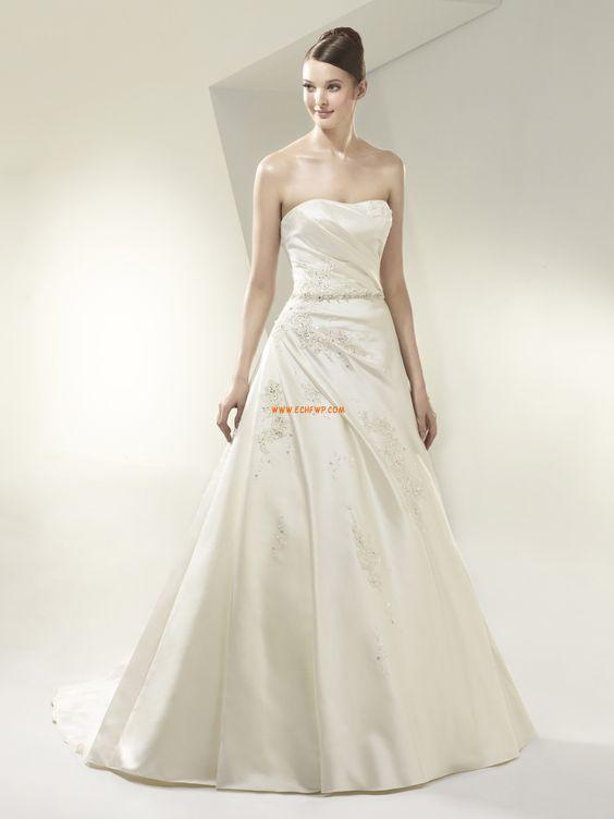 Taft Bez rukávů Přírodní Svatební šaty 2014