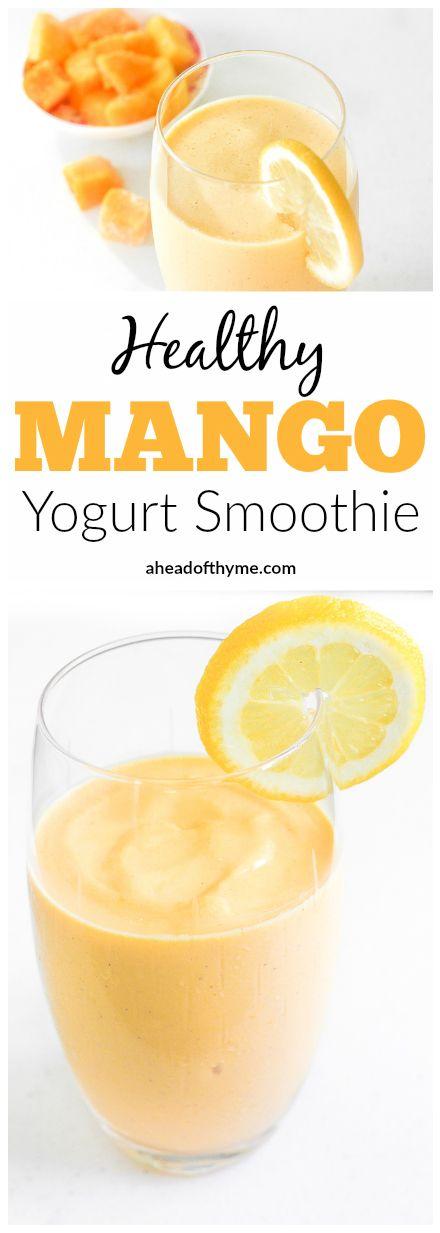 Mango Yogurt Smoothie: Tropical mango chunks mixed with low-fat yogurt ...