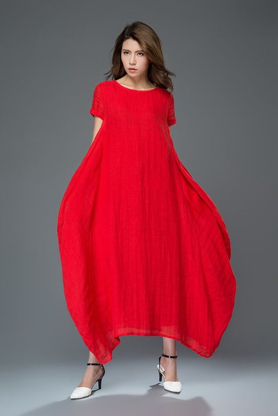 Casual Linen Dress - Red Lagenlook Comfortable Loose-Fitting ...
