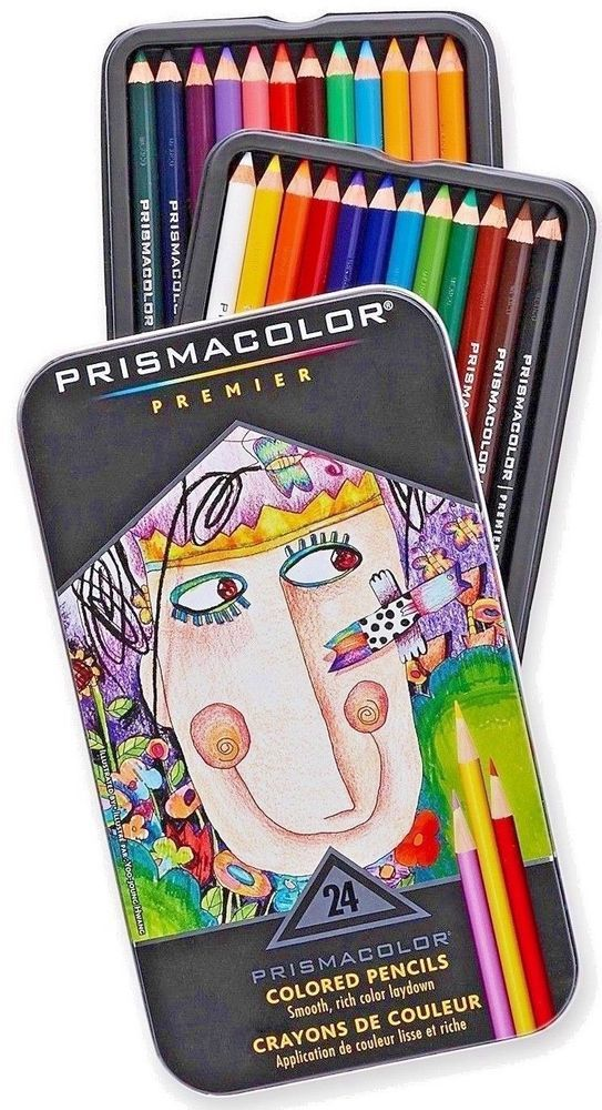 Prismacolor Premier Colored Pencils Metal Tin Gift Set 24 Set