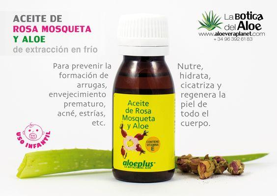 Aceite de Rosa Mosqueta y Aloe, de extracción en frío. Indicado para prevenir la formación de arrugas, envejecimiento prematura, acné, estrías, etc. Nutre, hidrata, cicatriza y regenera la piel de todo el cuerpo.