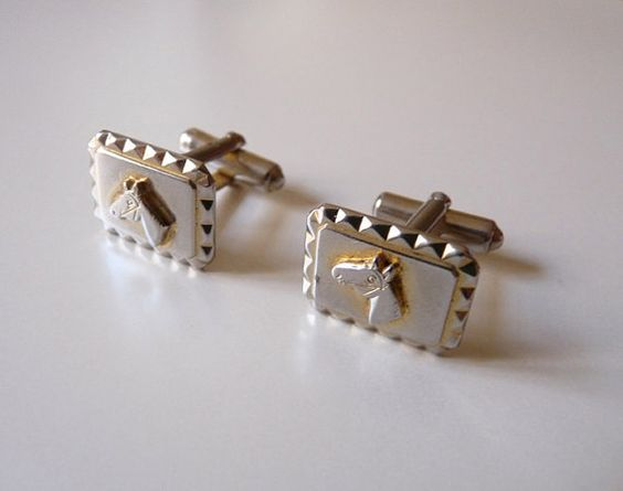 Silvery Rectangular cufflinks  Horse decor by FrenchVintageShop, €12.00
