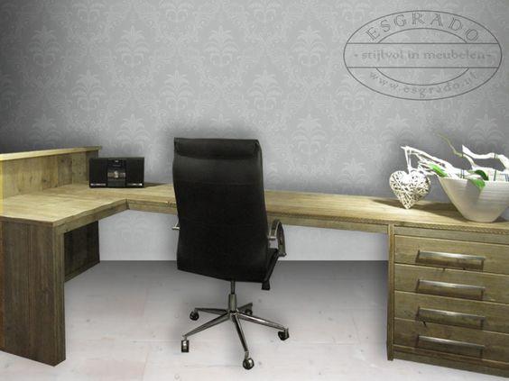 Steigerhout hoekbureau met ladeblok mooie meubelen van for Ladeblok landelijk