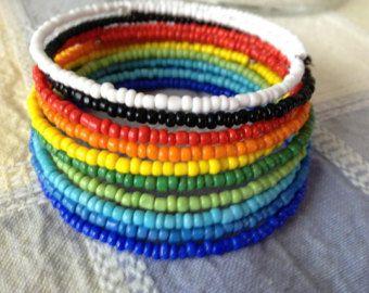 Seed Bead memory wire bracelets