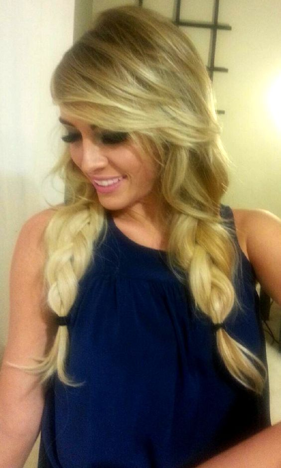 long blonde hair / balayage / double braids with side part / big braids / braided