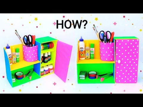 Diy Desk Organizer From Waste Cardboard Box Best Out Of Waste Space Saving Craft I In 2020 Paper Crafts Diy Kids Desk Organization Diy Diy Paper Crafts Decoration