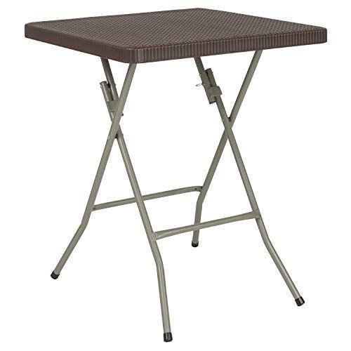 Flash Furniture 23 5 Square Brown Rattan Plastic Folding Table Klapptisch