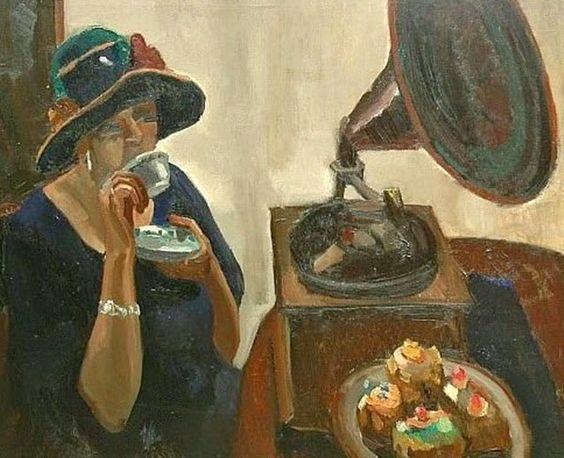 ~ Toon Kelder ~ Dutch artist, 1894-1973:  A Lady Drinking Tea, 1920