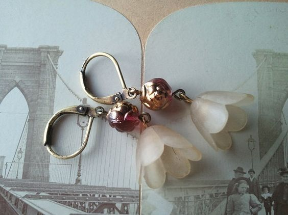 Lucite Flower Charms Rose Gold Earrings by MissShugsJewelryShow