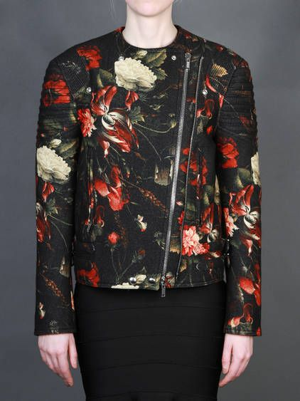 BEST OF SALE FW13 w/ Givenchy biker jacket with red flored print on boiled wool with two zip pockets and double asymmetric zip closure