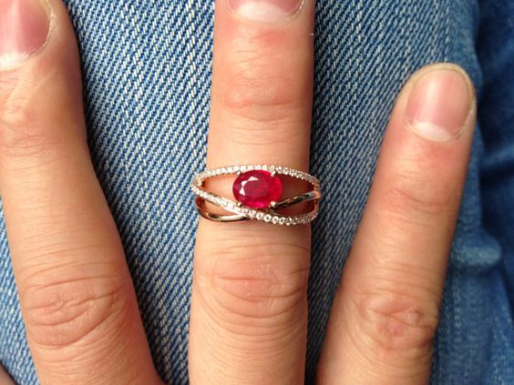 18K Oval Cut  1.18ct Ruby with 60 Diamonds Solid 18K by 4YOURSELF, $1199.00