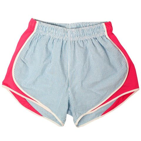 Turquoise and Pink Shorties by Lauren James! Turquoise seersucker look SO great with the bright pink! #laurenjames #seersucker shoplaurenjames.com