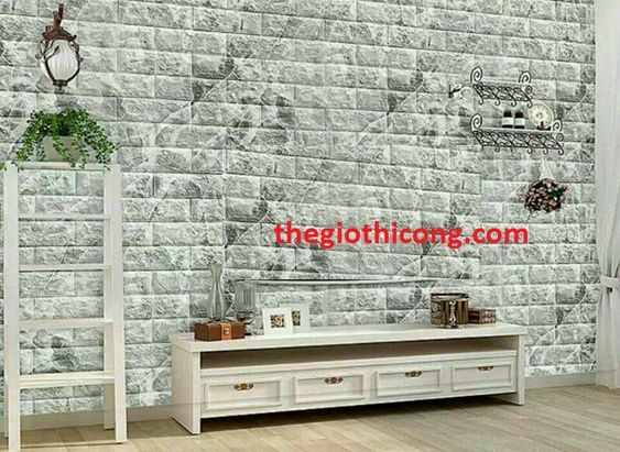 Thi công xốp dán tường giả đá