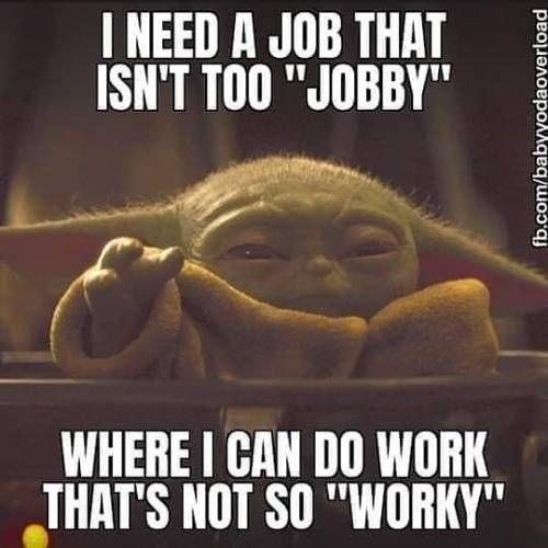 Hope Im Not Being Too Picky Jobhunt Geeklife Yoda Funny Workplace Humor Work Humor
