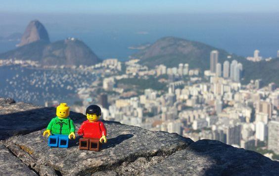 Photo shoot with two tiny LEGO toys while enjoying the perfect view on Rio de Janeiro.