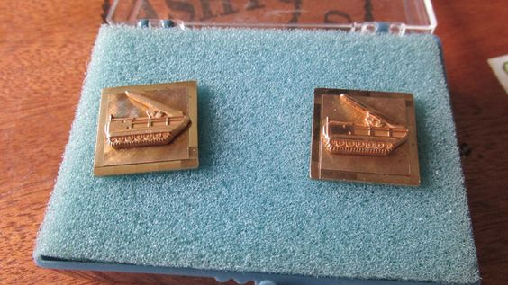 WW2 TANK Gold Plated CUFFLINKS Marked 12KT GF New Old Stock Original Box Brigadier General Richard Knowles Estate Collectible Memorabilia by GrammiesCupboard on Etsy