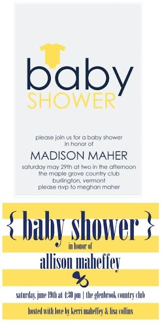 Paper Goods - Baby Shower and Announcements - Navy + Yellow Baby Shower Invitations