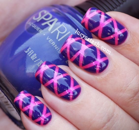 Nail Art Using Striping Tape: Lucy's Stash: Striping Tape Nail Art Manicure With