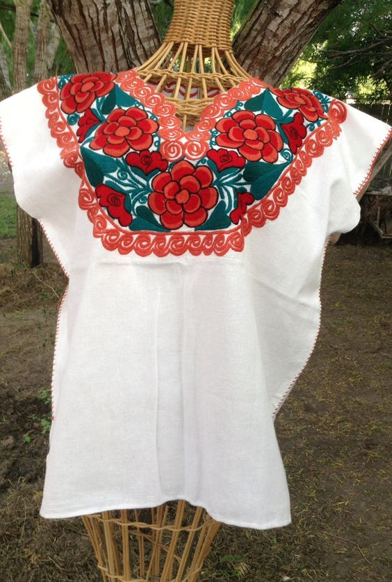 Gorgeous Floral Art Embroidered white Manta Blouse3 by raquells27, $35.00