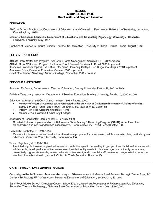 assistant professor sample resumes