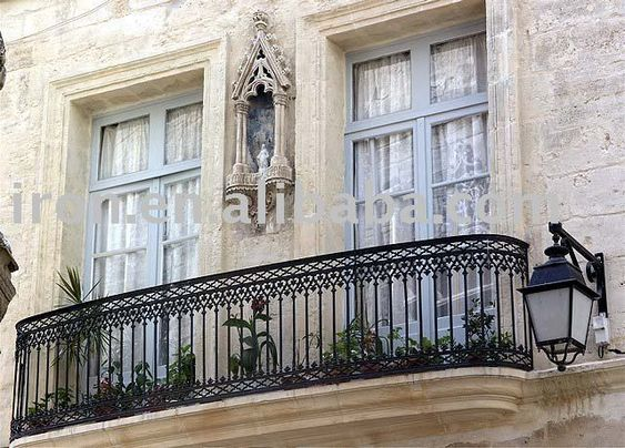 Wrought iron balcony railing balcony pinterest for Balcony window