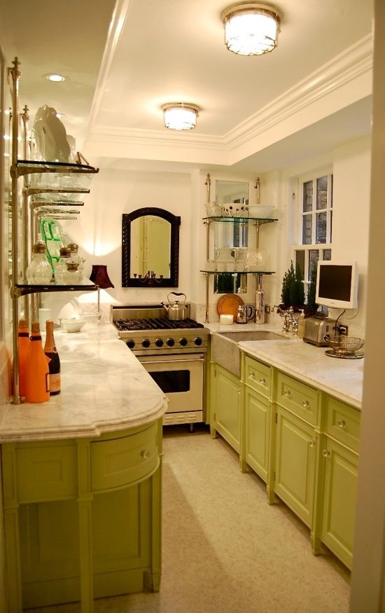 Best Fabulous Galley Kitchen Green Cabinetry Mixed With 400 x 300