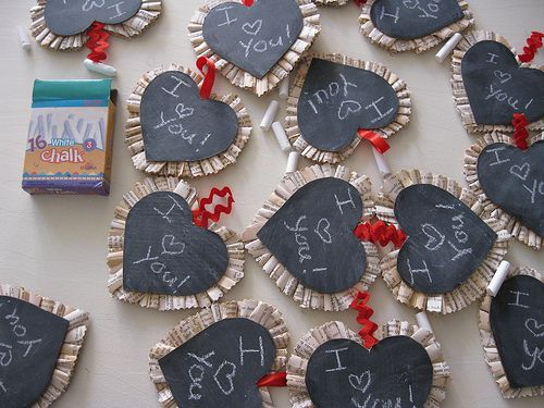 chalkboard valentines with sweet book page ruffles