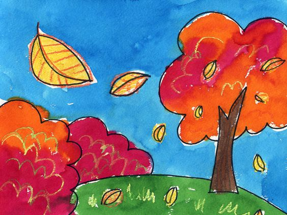 Fall landscape with first step of learning perspective. Art Projects for Kids