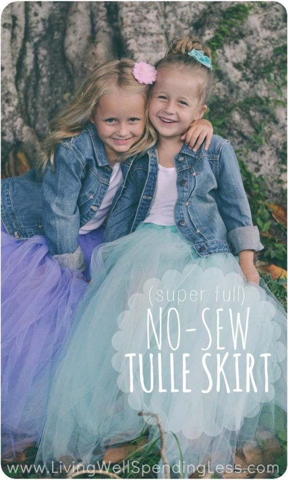 Super Full No-Sew Tulle Skirt. Awesome tutorial for making a darling ultra-full tulle skirt without a sewing machine. So easy to make and perfect for dress-up or a fun photo shoot!