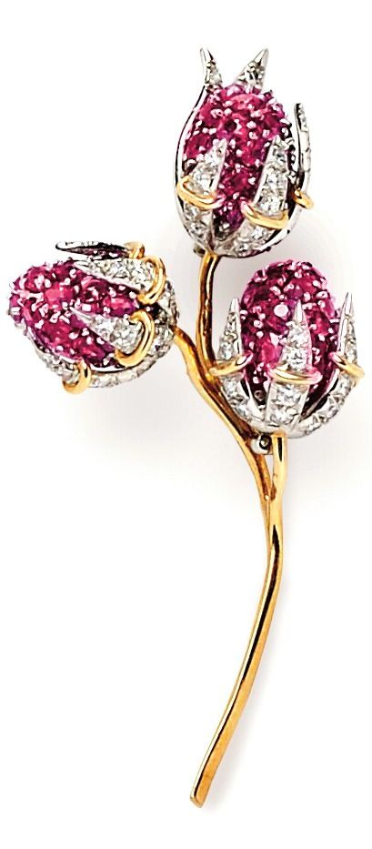18kt Gold and Platinum Gem-set Brooch, Schlumberger, Tiffany & Co., France, with circular-cut ruby and full-cut single-cut diamond blossoms, lg. 2 1/2 in., maker's mark, signed.: