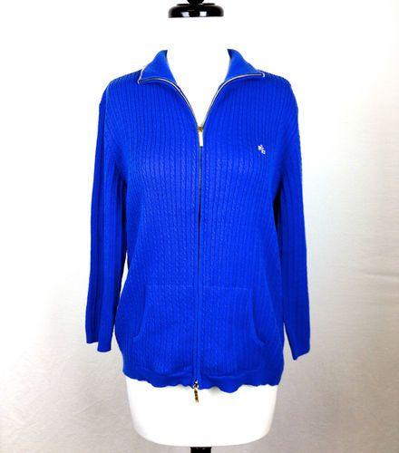 Ralph Lauren Womens Gold Blue Cotton Full Zip Knit Sweater Ribbed M Nice | eBay