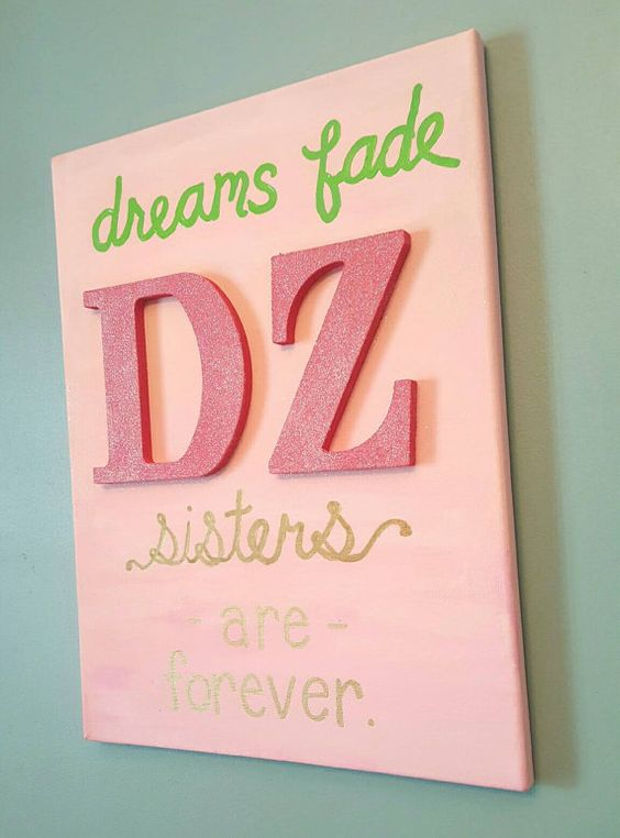 Hand Painted Delta Zeta Sorority Canvas with Glittered Wood Letters! BUY 2 Canvases, Receive a Bonus Canvas FREE!