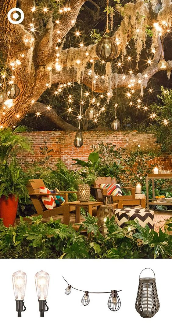 Create a magical outdoor escape that'll take you from summer to fall and beyond. Start by draping a variety of outdoor string lights and lanterns above your yard or patio, adding LED and citronella candles throughout so the whole space feels warm and inviting (and keeps bugs away!) Tie it all together with an outdoor rug and pillows, and your favorite patio set.
