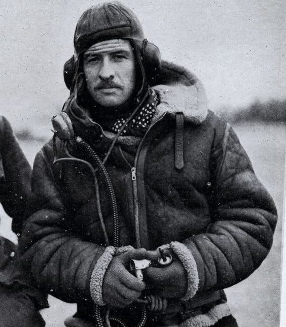A WWII RAF Pilot wearing Leslie Irvin&39s Sheepskin Flying Jacket