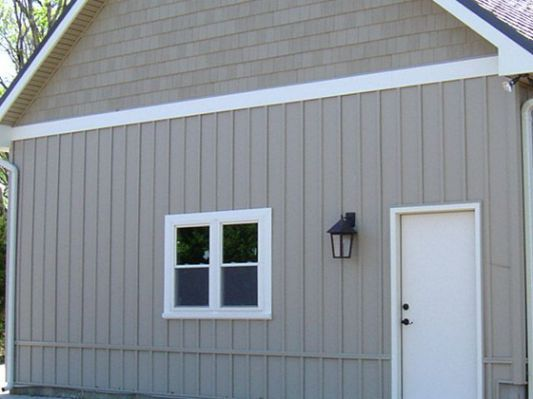 Board And Batten Color Is Sand Exterior Siding Exterior House Siding Vertical Siding