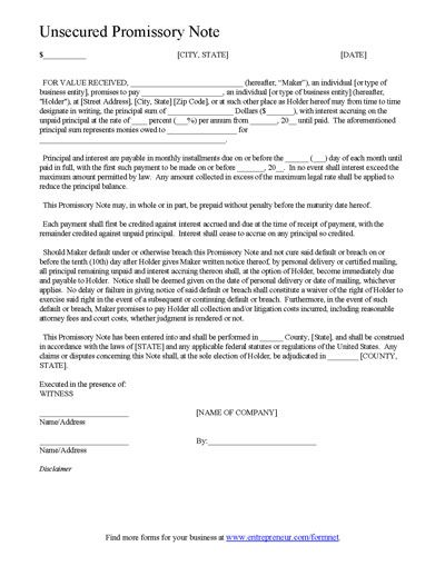Promissory Note Form Template – Example of Promissory Note