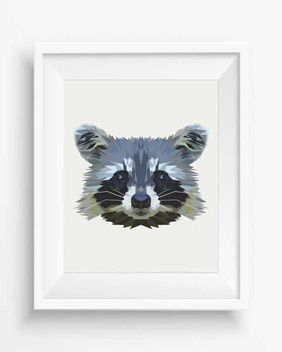 Raccoon Print,Digital Prints, Raccoon Wall Art, Polygonal Raccoon,Home Decor, Geometric Raccoon, Triangle Raccoon, Geometric Animal