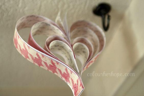 // paper heart garland. no sew.
