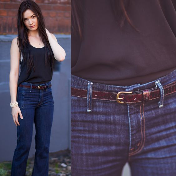 """The Cinch Ostrich Leather Belt (0.75"""" Wide) in Black Cherry. Available at www.vbyivan.com for just $95 until March 27th. (Retail $210) Ships Worldwide"""