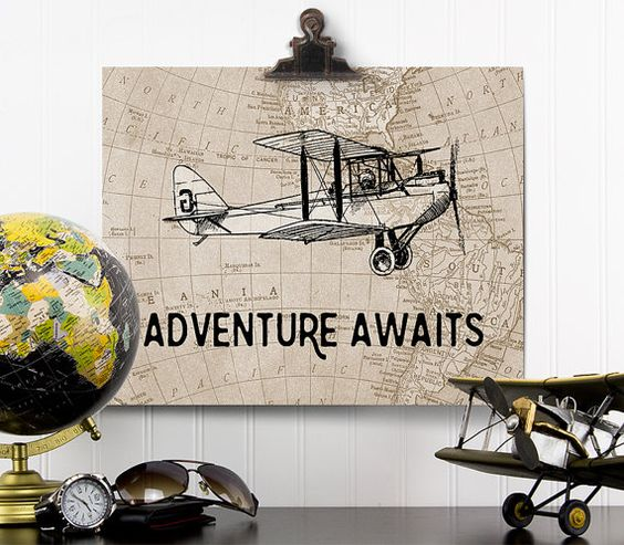 Adventure Awaits Print, Vintage Airplane Nursery, Adventure Awaits Map Wall Art, Airplane Decor, Aviation Gift, Travel Theme Nursery Art