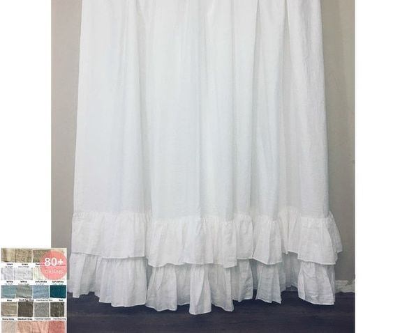 Linen Shower Curtain With Two Tiered Of Mermaid Long Ruffles Pick Color Natural Linen Curtains Curtains With Rings