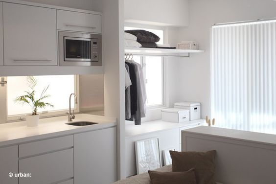 Bespoke furnishing maximizes space leaving no gaps in between each set of cabinets.