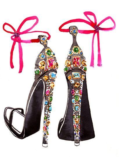 Beautiful jewel heels ! A lovely #illustration from Sujean Rim. #Fashion