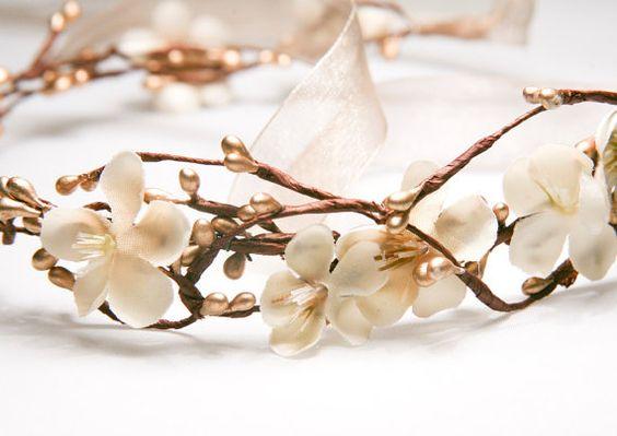 Gold Berry Waldland Weding Kranz, Urlaub Haar, Hochzeit Flower Crown, Hochzeit Kopfstück, binden Stirnband