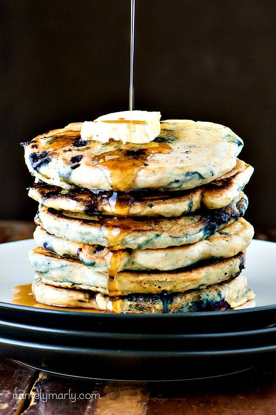 These Vegan Blueberry Buttermilk Pancakes makes a delicious vegan breakfast made with blueberries and flax seed to help get your Omega-3s with panache!