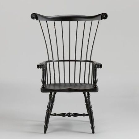 black windsor chair with high back