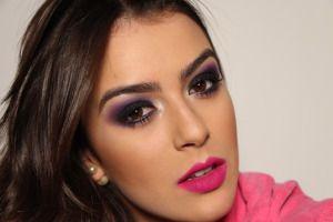 Maquiagem Olho Tudo e Boca Pink