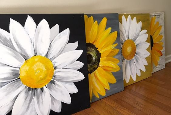 Large Black and White Original Daisy Painting on Wood Panel Distressed, Rustic…