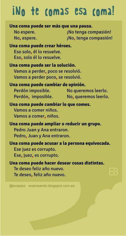 """Recursos didácticos para imprimir, ver, leer: """"¡No te comas esa coma!"""" (Infografía de evacreando.blogspot.com.es):"""
